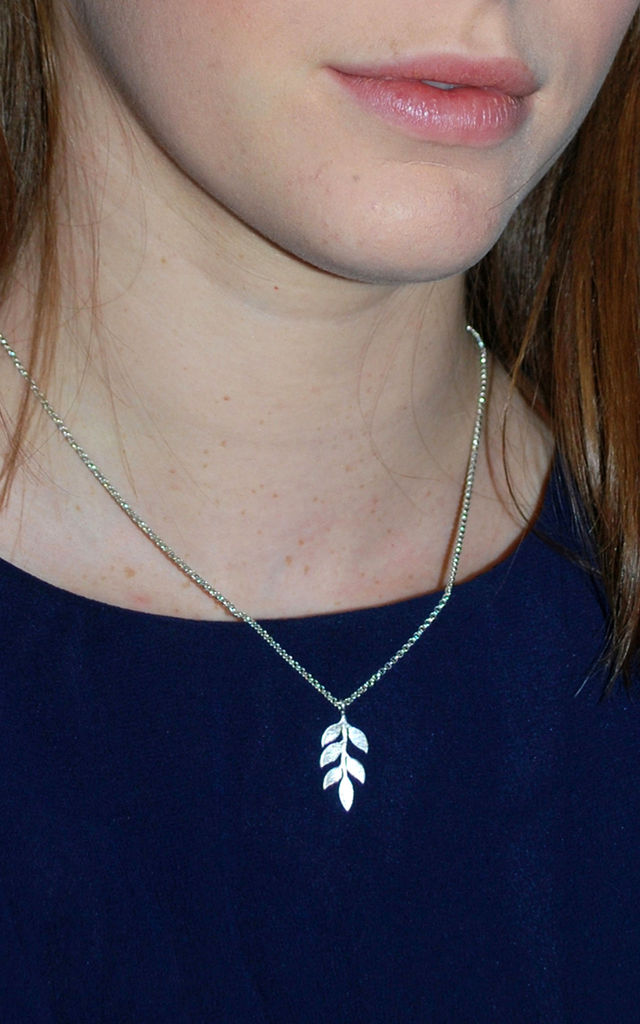 Simple Leaves Necklace by White Leaf
