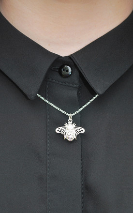Little Bee Necklace in Silver by White Leaf