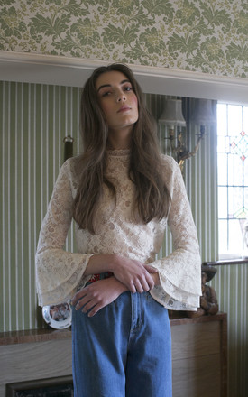 'Alice' Cream Lace Flared Sleeve Blouse by Lily and the Lamplight