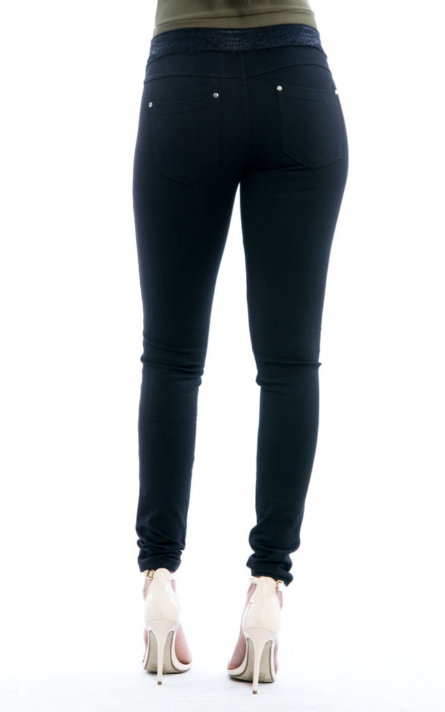 Mid Rise Lace detail Jeans - Black by Npire London