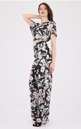 High Waist Floral Print Black Palazzo Trousers by MISSTRUTH