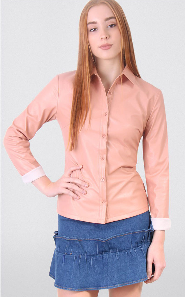 Faux Leather Long Sleeves Shirt by MISSTRUTH