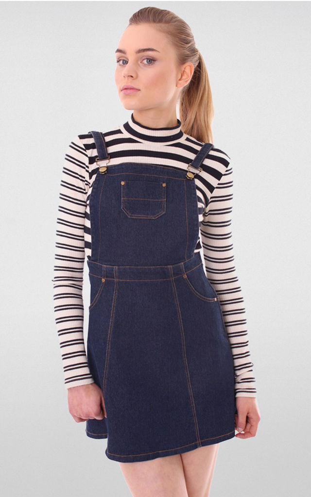 Indigo Denim Dungaree Pinafore Dress by MISSTRUTH
