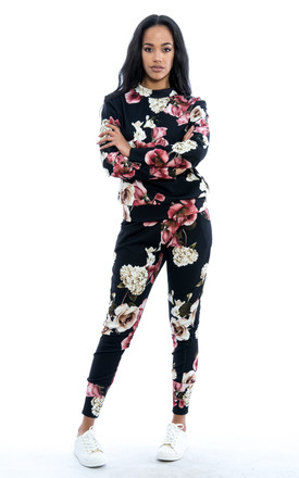 Rose Flower Floral Print Co-Ord Set - Black by Npire London