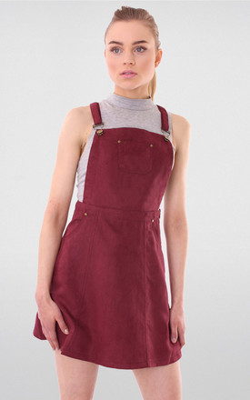 Wine Square Neck Suede Dungaree Pinafore Dress by MISSTRUTH