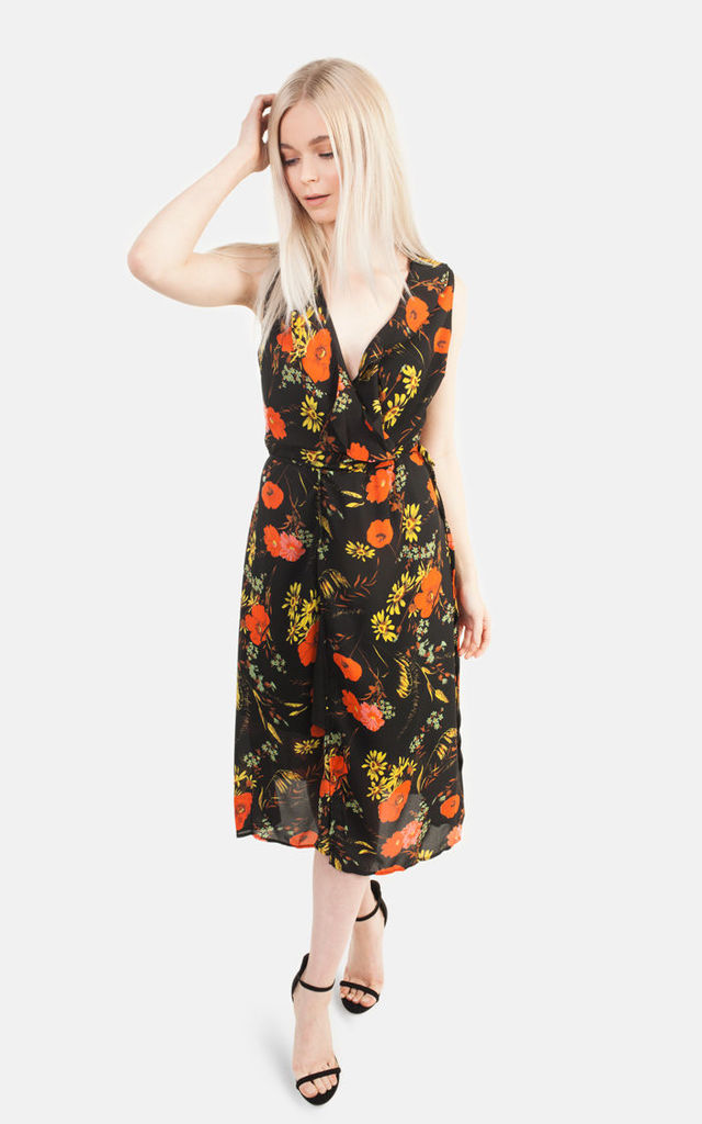 Orange & Black Floral Frill Dress by Moth Clothing