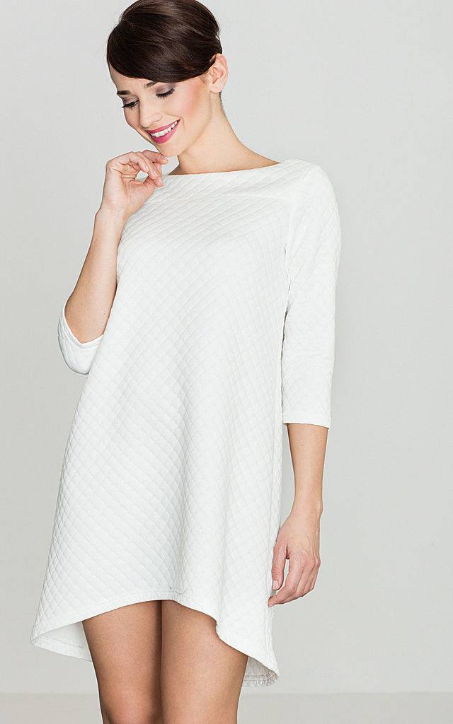 Quilted shift Dress in white by LENITIF