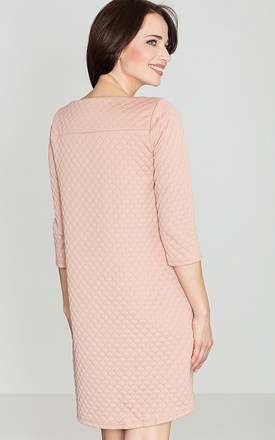 Pink 3/4 Sleeve Quilted Dress by LENITIF
