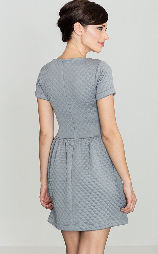 Grey Quilted Flared Mini Dress by LENITIF