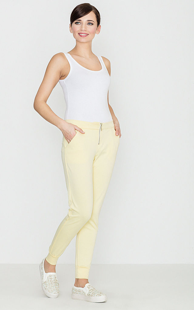 Yellow Trousers with Zip Detail by LENITIF