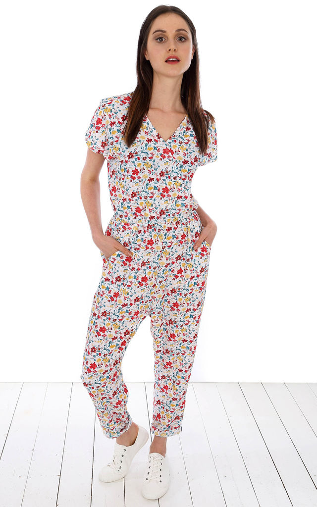 006 - Long Jumpsuit - Ivory Summer Garden by Trollied Dolly