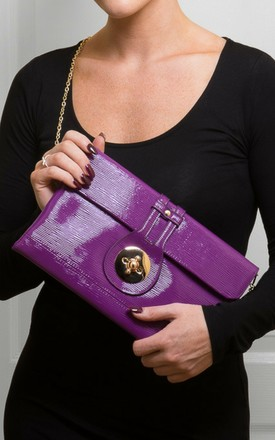 Purple Textured Clutch Bag by Mimi & Thomas®