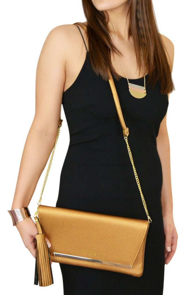 Bronze Clutch Bag Crossbody with Tassels Charm by Mimi & Thomas®