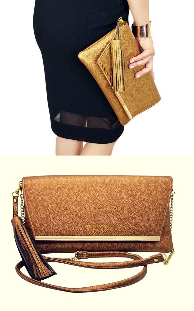 Bronze Clutch Bag Crossbody with Tassels Charm by Mimi & Thomas® cashmere & leather
