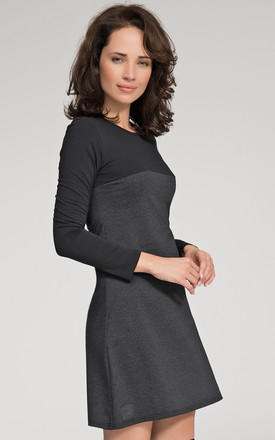 Two Colour Black And Grey Mini Flared Dress by Makadamia