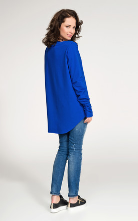Blue Long Back Top With Puckered Sleeves by Makadamia