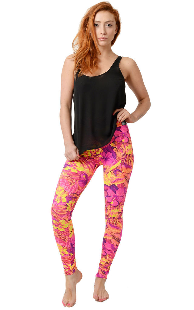 Coral Tropical Print Leggings by Tirade 13