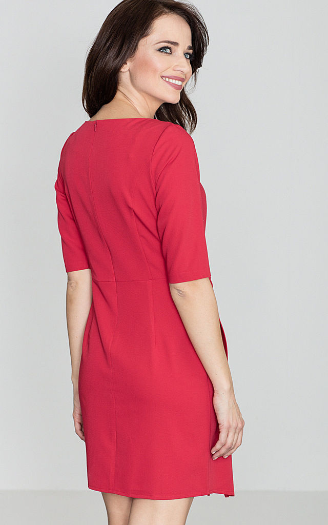 Red 3/4 Sleeve Assymetric Dress by LENITIF