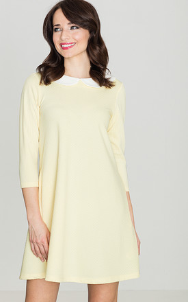 Yellow Mini Dress with White Collar by LENITIF