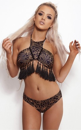 Nala Black & Gold Fringe Bikini by The Fashion Bible
