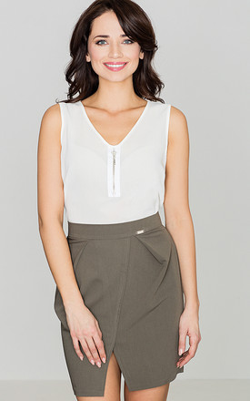 Sleeveless Top with Front Zipper in white by LENITIF