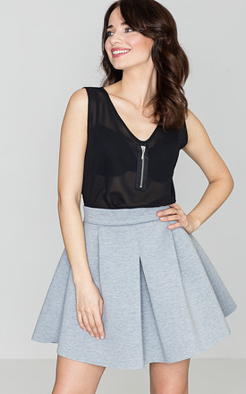Grey Flared Mini Skirt by LENITIF