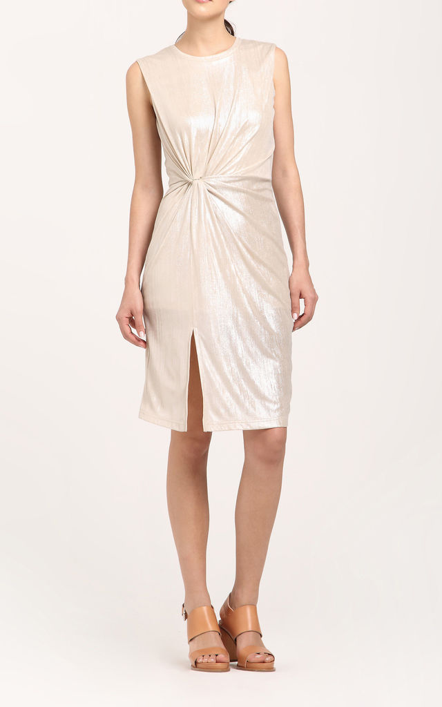 Twist knot metallic dress in champagne by Paisie