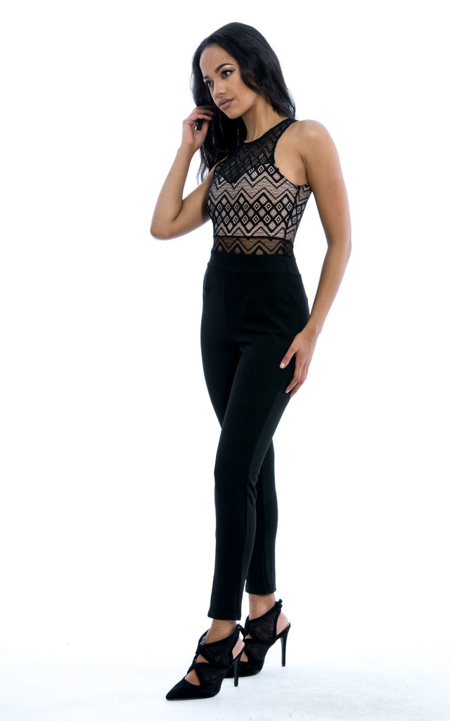 Sleeveless Lace Jumpsuit - Black by Npire London