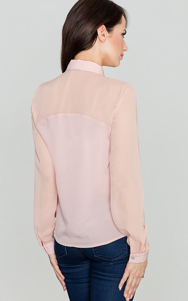 Pink Chiffon Sleeve Shirt by LENITIF