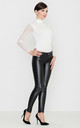 Black Faux Leather Trousers by LENITIF