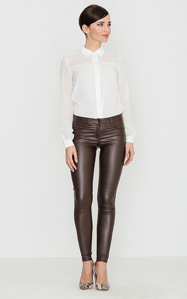 Brown Faux Leather Trousers by LENITIF