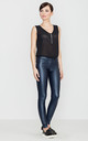 Navy Blue Faux Leather Trousers by LENITIF