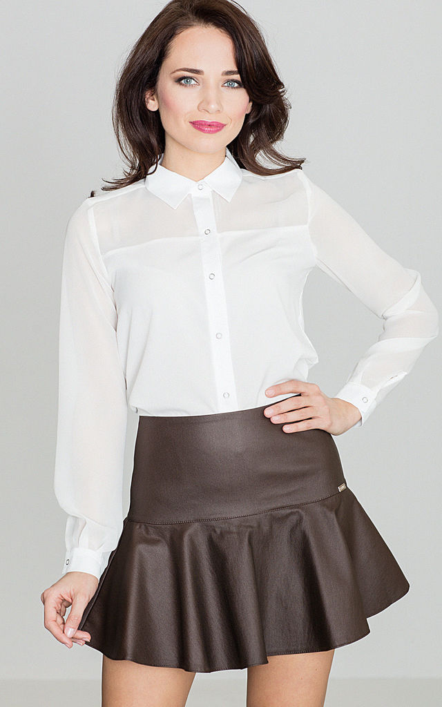 Brown Leather Mini Skirt by LENITIF