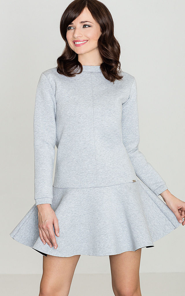 Grey Long Sleeve Flared Dress by LENITIF