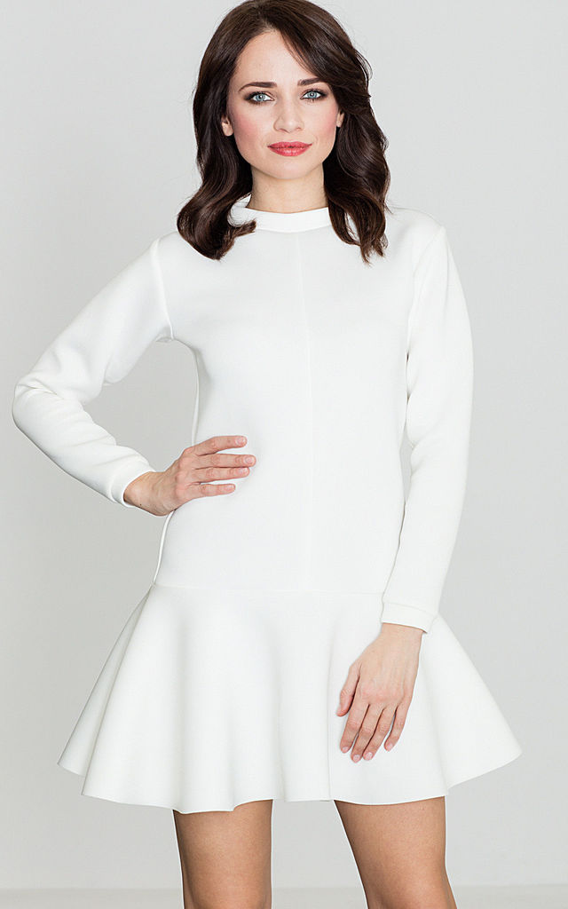 Long Sleeve skater Dress in white by LENITIF