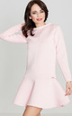 Pink Long Sleeve Flared Dress by LENITIF