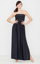 Black Strapless Maxi Dress by LENITIF