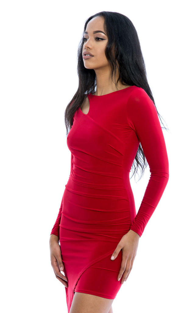 Asymmetric Ruched Detail Wrap Over Slinky Dress - Red by Npire London