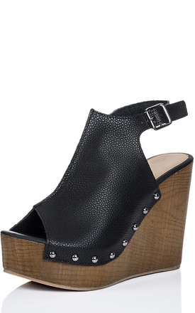 WOWED Platform Croc Print Wedge Heel Sandals Shoes - Black Leather Style by SpyLoveBuy