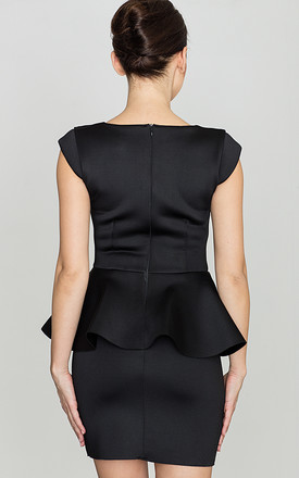 Black Fitted Dress with Frill by LENITIF