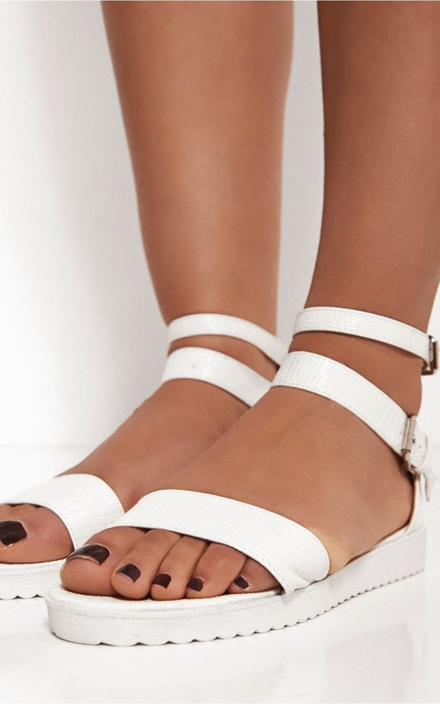 Mimi White Snakeskin Sandals by The Fashion Bible