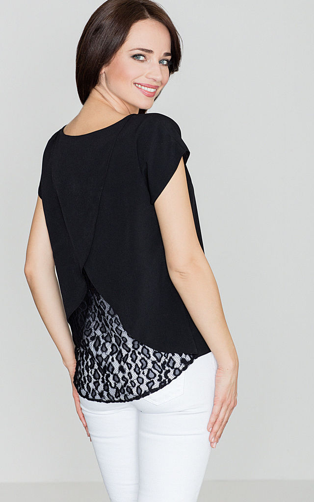 Black Top with Lace Back by LENITIF
