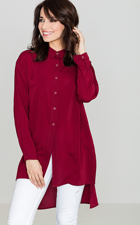 Deep Red Long Back Shirt by LENITIF