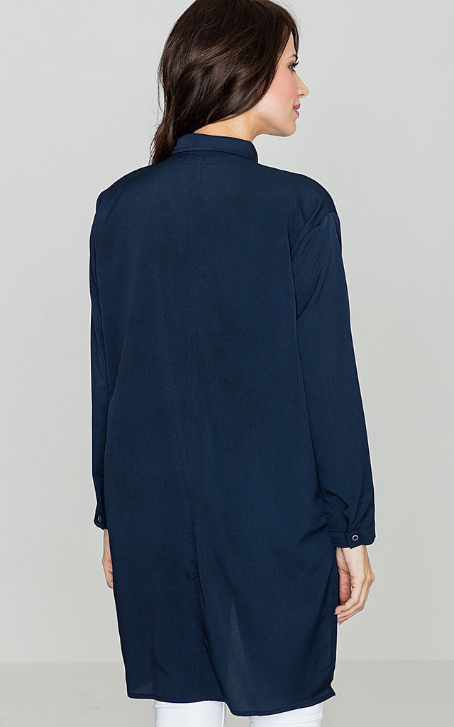 Navy Blue Long Back Shirt by LENITIF