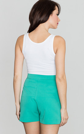 Sea Green High Waist Shorts by LENITIF