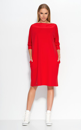 Red Oversized Casual Dress With Side Pockets by Makadamia Product photo