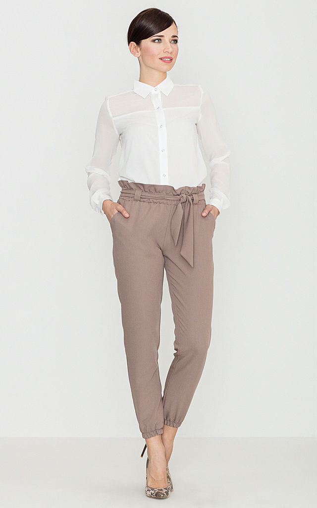 Mocca Belted Trousers by LENITIF