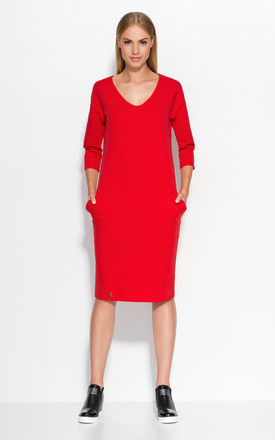 Red Casual Dress With Pockets by Makadamia Product photo