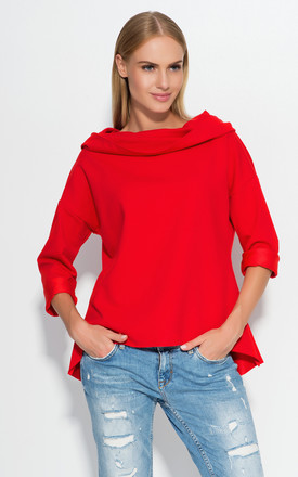 Red Hooded Blouse by Makadamia Product photo