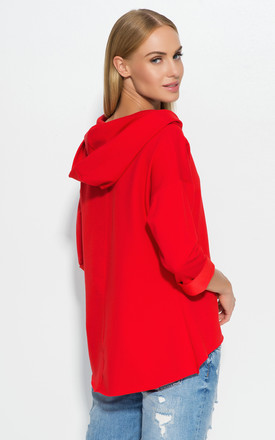 Red Hooded Blouse by Makadamia